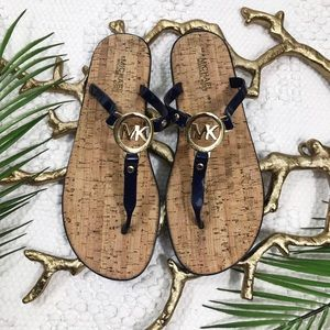 Michael Kors Sable Navy Charm Jelly Cork Sandals